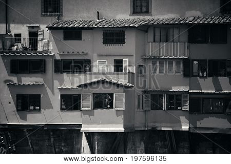 poster of Ponte Vecchio closeup in Arno River BW in Florence Italy