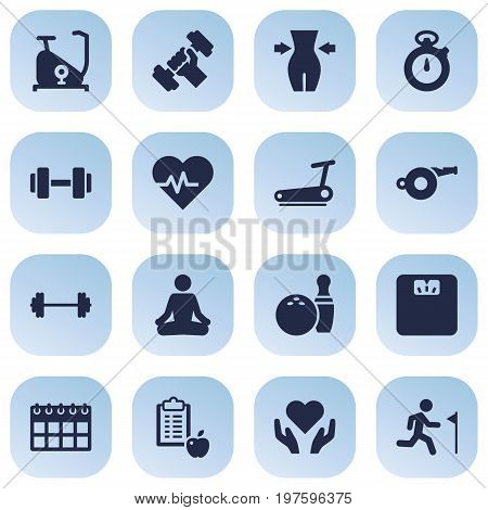 Collection Of Heart In Hand, Bodybuilding , Timer Elements.  Set Of 16 Bodybuilding Icons Set.