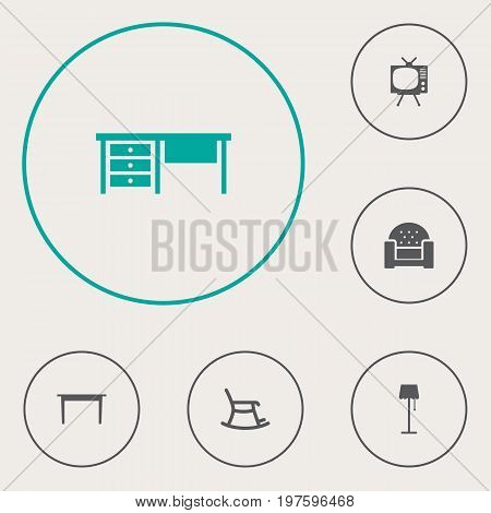 Collection Of Illuminator, Sofa, Television And Other Elements.  Set Of 6 Set Icons Set.