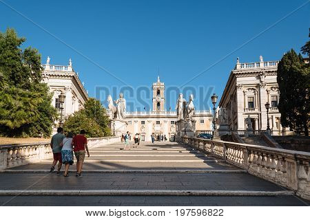 Rome Italy - August 20 2016: View of Cordonata capitolina leading from Piazza d'Aracoeli to Piazza del Campidoglio designed by Michelangelo a sunny summer day
