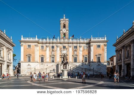 Rome Italy - August 20 2016: View of Square of Campidoglio created by Renaissance artist and architect Michelangelo Buonarroti a sunny summer day in Rome