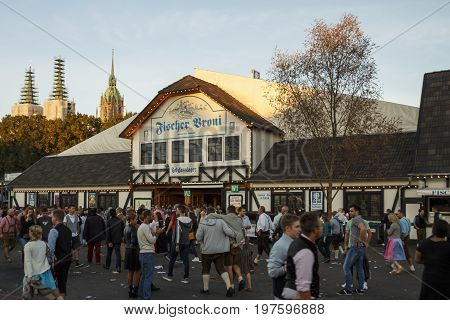 Munich, Germany - September 24, 2016: Fischer Vroni tent on the Theresienwiese during Oktoberfest with people standing in front