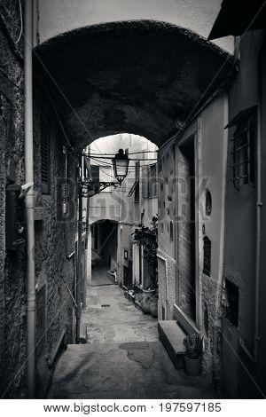 Typical alley view in Riomaggiore in Cinque Terre, Italy.