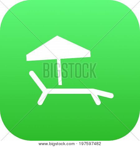 Vector Chaise Longue Element In Trendy Style.  Isolated Sunbed Icon Symbol On Clean Background.