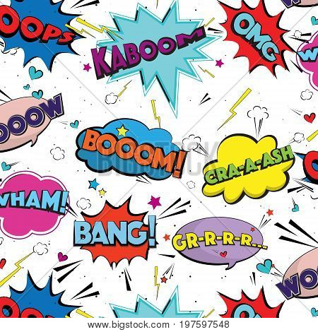 Vector comic speech pop art bubbles and splashes. Colorful set with different emotions and text Bang, Boom, Crash, GRR. Emotional colorful graffiti pattern. Decoration font dynamic cartoon decoration
