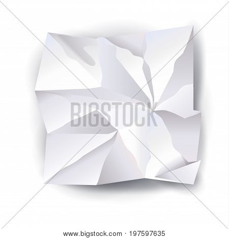 White Crumpled paper with shadow on white background. Graphic element. Realistic crumpled paper texture Vector illustration.