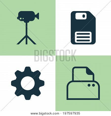 Hardware Icons Set. Collection Of Settings, File Scanner, Diskette And Other Elements