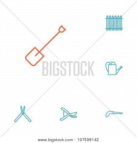 Collection Of Spade, Secateurs, Bailer And Other Elements.  Set Of 6 Household Outline Icons Set.