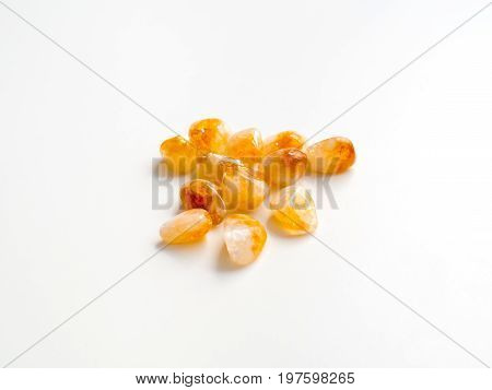 Tumbled Citrine Quartz Stones Close Up For Crystal Therapy Treatments And Reiki