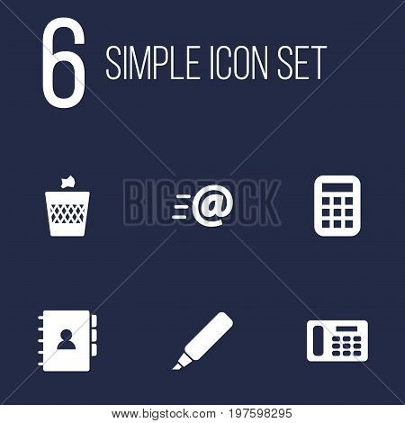 Collection Of Label, Calculate, Urn And Other Elements.  Set Of 6 Bureau Icons Set.