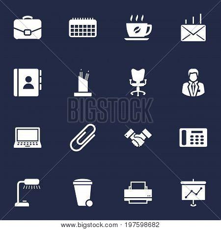 Collection Of Pencil Stand, Printer, Calendar Elements.  Set Of 16 Bureau Icons Set.