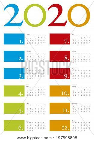 Colorful And Elegant Calendar For Year 2020 In Vector Format