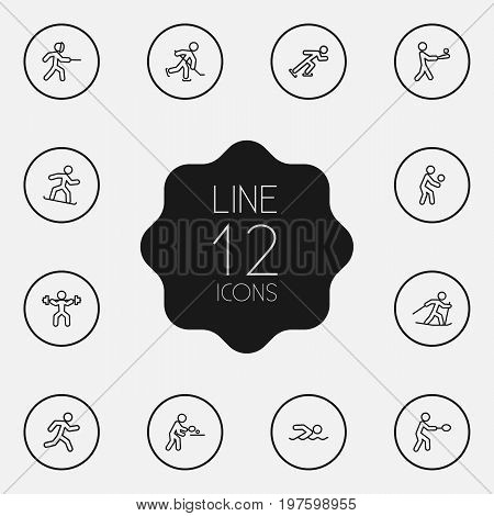 Collection Of Diving, Swordplay, Ice Skating And Other Elements.  Set Of 12 Athletic Outline Icons Set.