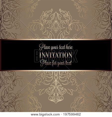 Baroque Background With Antique, Luxury Beige, Brown, Black And Gold Vintage Frame, Victorian Banner
