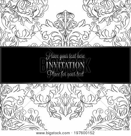 Baroque Background With Antique, Luxury Black And White Vintage Frame, Victorian Banner, Damask Flor