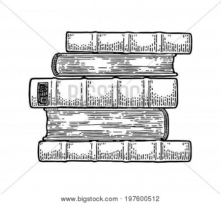 Pile of lying old books isolated on white background. Side view. Vector black vintage engraving illustration. Hand draw in a graphic style.