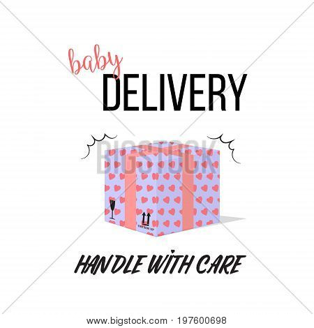 Pregnant vector illustration. Handle with care maternity card, t-shirt print. Cute happy mother and kid art. Parenthood box, expecting child time 9 month