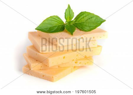 cheese with basil leaves isolated on white background.