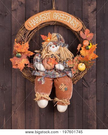 Harvest greetings wreath hanging on a wood background