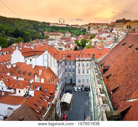 Prague, Czech Republic - April 18, 2017: Lesser Town Square Rooftops With Prague Cityscape With Char