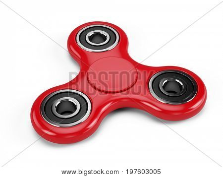 Red fidget spinner stress relieving toy isolated on white background. 3d render