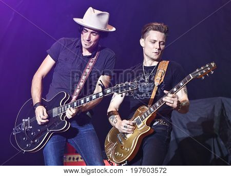 TWIN LAKES, WI - JUL 21: Frankie Ballard (R) performs during 2017 Country Thunder Music Festival on July 21 2017 in Twin Lakes, Wisconsin.