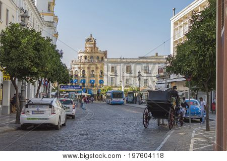 Plaza Esteve, Jerez de la Frontera in the province of Cadiz, south of Spain, photo taken July 29, 2017