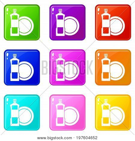 Dishwashing liquid detergent and dish icons of 9 color set isolated vector illustration