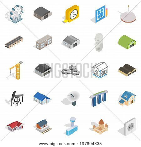 Architectonics icons set. Isometric set of 25 architectonics vector icons for web isolated on white background