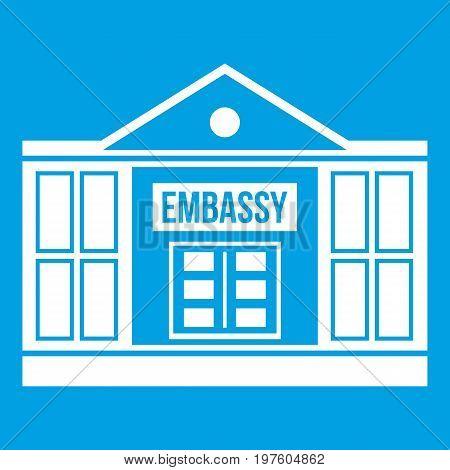Embassy icon white isolated on blue background vector illustration