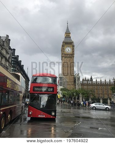 London, Big Ben, Westminster July,27th,2017. Big Ben is the nickname for the Great Bell of the clock at the north end of the Palace of Westminster in London