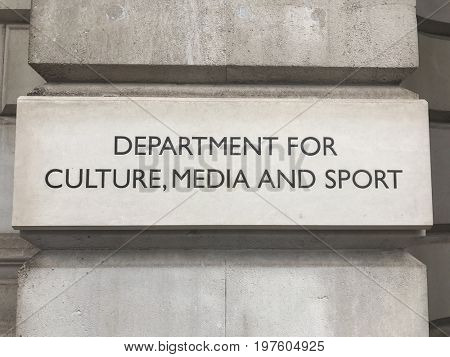 London, England.  27,July,2017.  Department for Culture,Media and Sport. U.K. Government dept with responsibility for culture,media and sport in England.