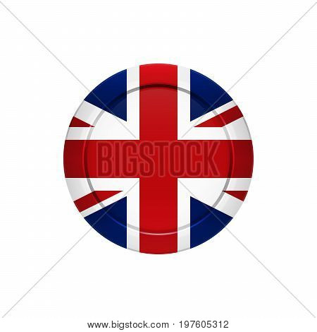 Flag button design. English flag on the round button. Isolated template for your designs. Vector illustration.
