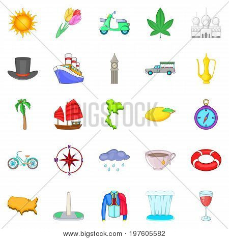 Voyage icons set. Cartoon set of 25 voyage vector icons for web isolated on white background