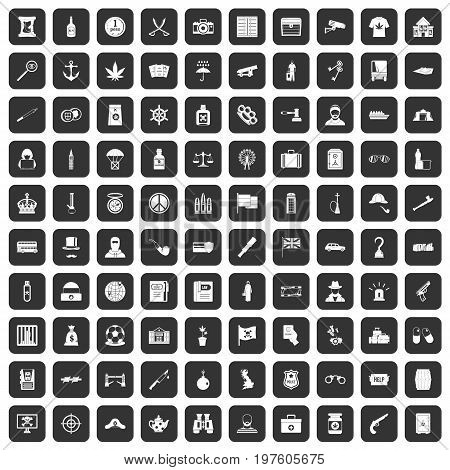 100 offence icons set in black color isolated vector illustration