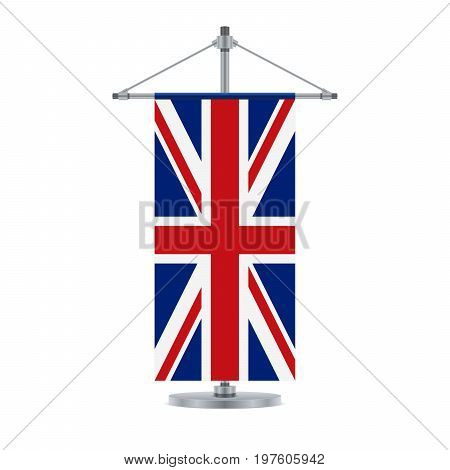 Flag design. English flag on the cross metallic pole. Isolated template for your designs. Vector illustration.