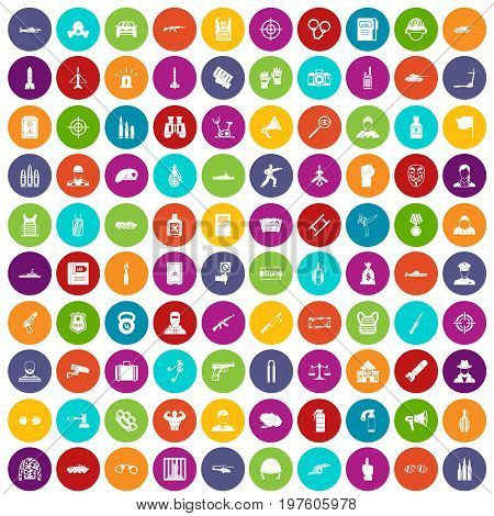 100 officer icons set in different colors circle isolated vector illustration