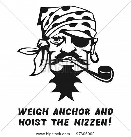 Vector image of a pirate with the inscription