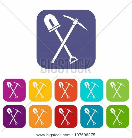 Shovel and pickaxe icons set vector illustration in flat style in colors red, blue, green, and other
