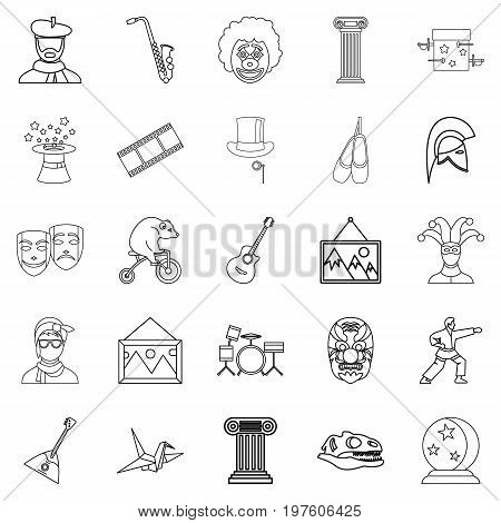 Exposition icons set. Outline set of 25 exposition vector icons for web isolated on white background