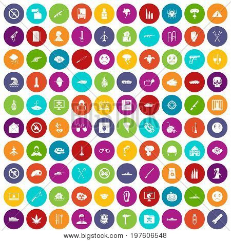 100 oppression icons set in different colors circle isolated vector illustration
