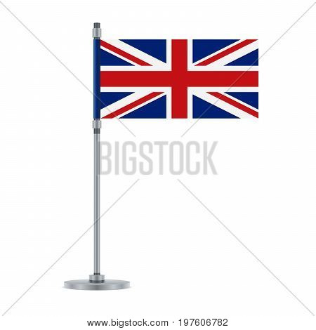 Flag design. English flag on the metallic pole. Isolated template for your designs. Vector illustration.