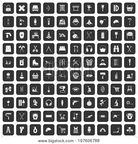 100 outfit icons set in black color isolated vector illustration