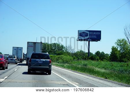PORTAGE, INDIANA / UNITED STATES - MAY 22, 2017: Cars and trucks move slowly along Highway 80-94, through Portage.