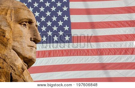 Thomas Jefferson side view with American flag background