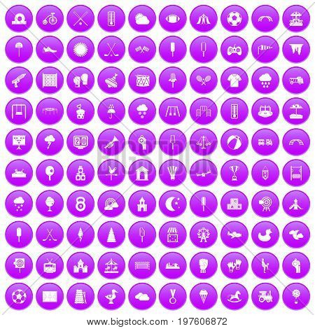100 childrens playground icons set in purple circle isolated on white vector illustration