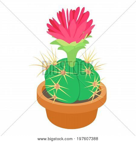 Cactus with red flower icon. cartoon illustration of cactus with red flower vector icon for web