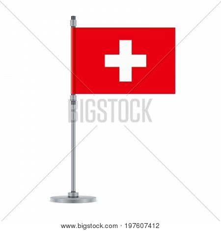 Flag design. Swiss flag on the metallic pole. Isolated template for your designs. Vector illustration.
