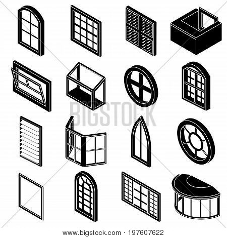 Window forms icons set. Simple illustration of 16 window forms icons set vector icons for web