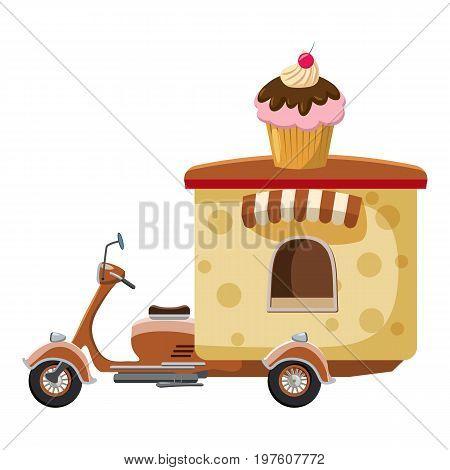 Cupcake moped mobile snack icon. cartoon illustration of cupcake moped mobile snack vector icon for web